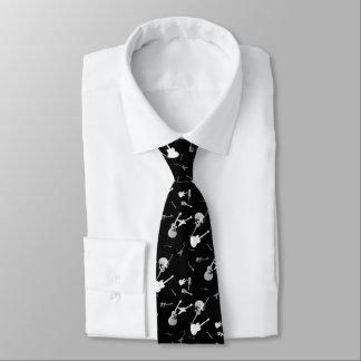 Cravate blanche 1 de noir de roche de guitares