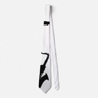 Cravate blanche et noire de saxophone