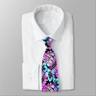 Cravate Bleu d'Aqua de rose de motif fleuri par Hawaïen