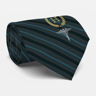 Cravate Bleu d'ardoise de monogramme encadré par