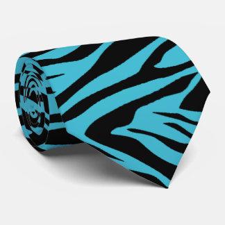 Cravate Bleu de zèbre et noir turquoises
