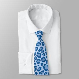 Cravate bleu d'empreinte de léopard