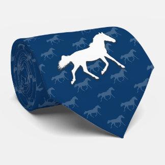 Cravate Bleu du motif | de chevaux de silhouette