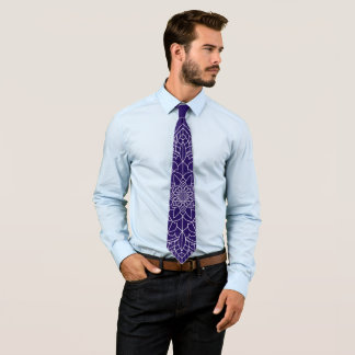 Cravate bleu-foncé de mandala