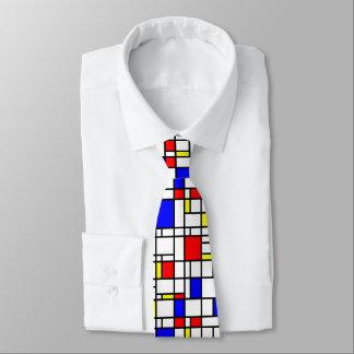 Cravate bleu jaune rouge de motif de grille d'art