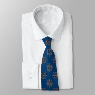 Cravate Bleu marine nautique de motif de roue de bateaux
