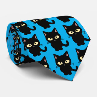 Cravate Bleu mignon de bande dessinée de meow de chat noir
