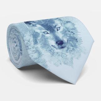Cravate bleue de loup d'aquarelle