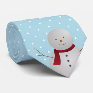 Cravate bleue et blanche de bonhomme de neige