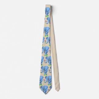 Cravate bleue mignonne de partie d'éléphant de