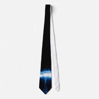 Cravate Bombe atomique bleue rougeoyante