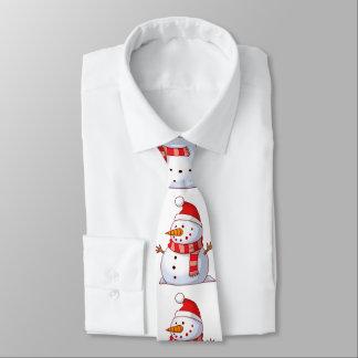 Cravate Bonhomme de neige mignon utilisant un casquette