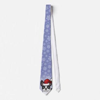 Cravate Bouledogue français de Noël