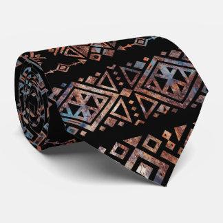 Cravate Bronze et rouille Pat tribal péruvien aztèque