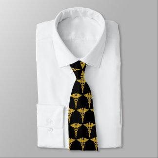 Cravate Caducée élégant chic simple d'or médical
