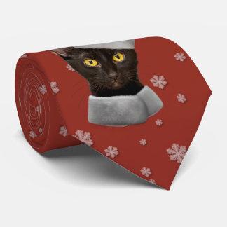 Cravate Chat drôle de Père Noël de noir de Noël