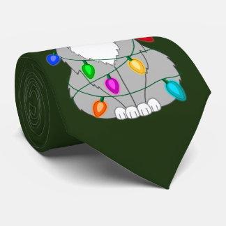 Cravate Chat fou drôle d'arbre de Noël dans les lumières