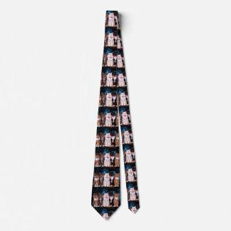 Cravate Chats avec des colliers dans l'espace