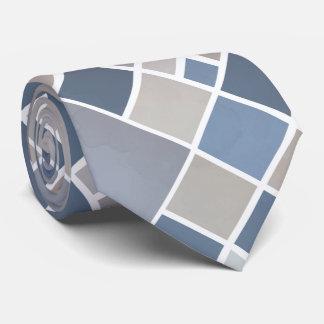 Cravate Checkered élégante bleue grise d'aquarelle