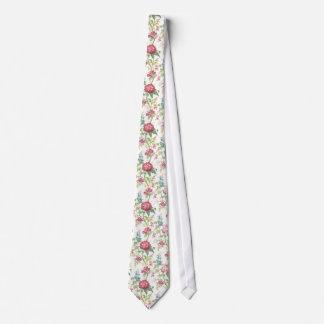 Cravate Chinese botanical pattern tie - white