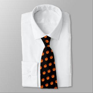 Cravate Citrouille de sourire de Halloween (noir)