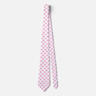 Cravate Coeurs de polka de rose de sucrerie de coton sur