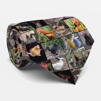 Cravate Collage de photo de poulets et de coqs,