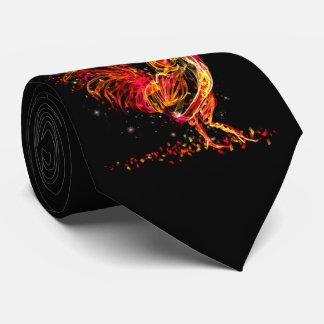 Cravate Coq du feu. Conception animale flamboyante de cool