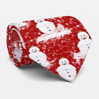 Cravate Couleur blanche et rouge de Snowmans de sourire