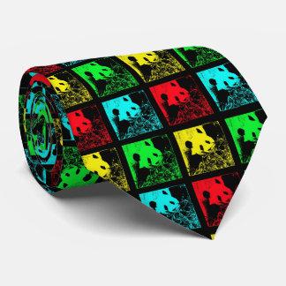 Cravate Cravate, vert jaune bleu rouge de panda géant