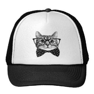 cravate d'arc de chat - chat en verre - chat en casquette de camionneur