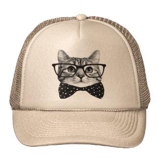 cravate d'arc de chat - chat en verre - chat en casquettes de camionneur
