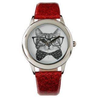 cravate d'arc de chat - chat en verre - chat en montres cadran