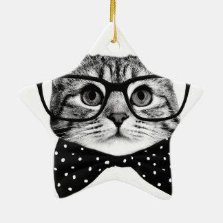 cravate d'arc de chat - chat en verre - chat en ornement étoile en céramique