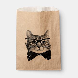 cravate d'arc de chat - chat en verre - chat en sachets en papier