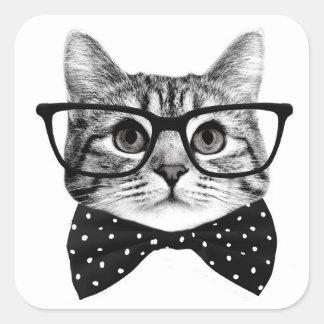 cravate d'arc de chat - chat en verre - chat en sticker carré
