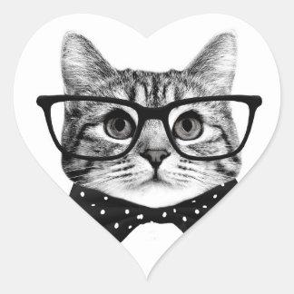 cravate d'arc de chat - chat en verre - chat en sticker cœur