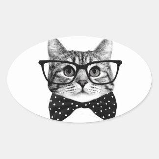 cravate d'arc de chat - chat en verre - chat en sticker ovale