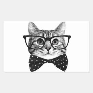cravate d'arc de chat - chat en verre - chat en sticker rectangulaire