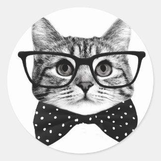 cravate d'arc de chat - chat en verre - chat en sticker rond