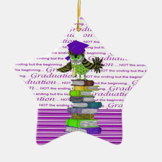 Cravate de hibou et casquette de port de diplômé ornement étoile en céramique