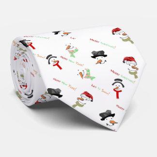 Cravate de motif de bonhomme de neige