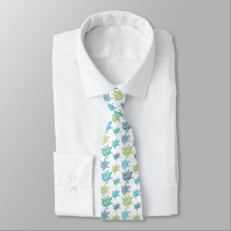 Cravate de motif de tortues bleues et vertes