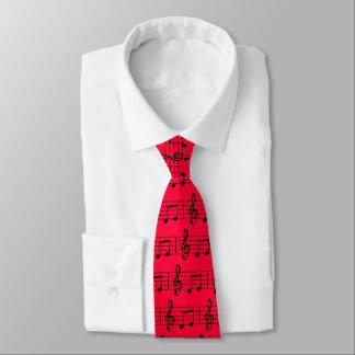 Cravate de notes, rouge et noire musicale