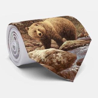 Cravate de paysage d'ours gris