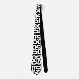 Cravate de quatre éléments noire et blanche