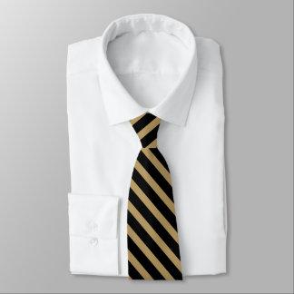 Cravate de rayure d'université d'or noir et vieil