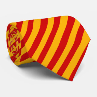 Cravate de rayure rouge et jaune