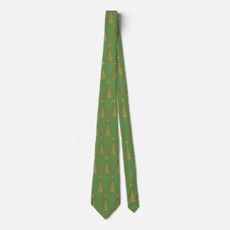 Cravate de vert d'arbre de Noël d'or