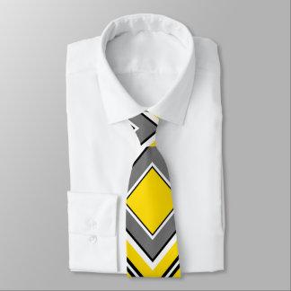 Cravate Diamant gris jaune géométrique
